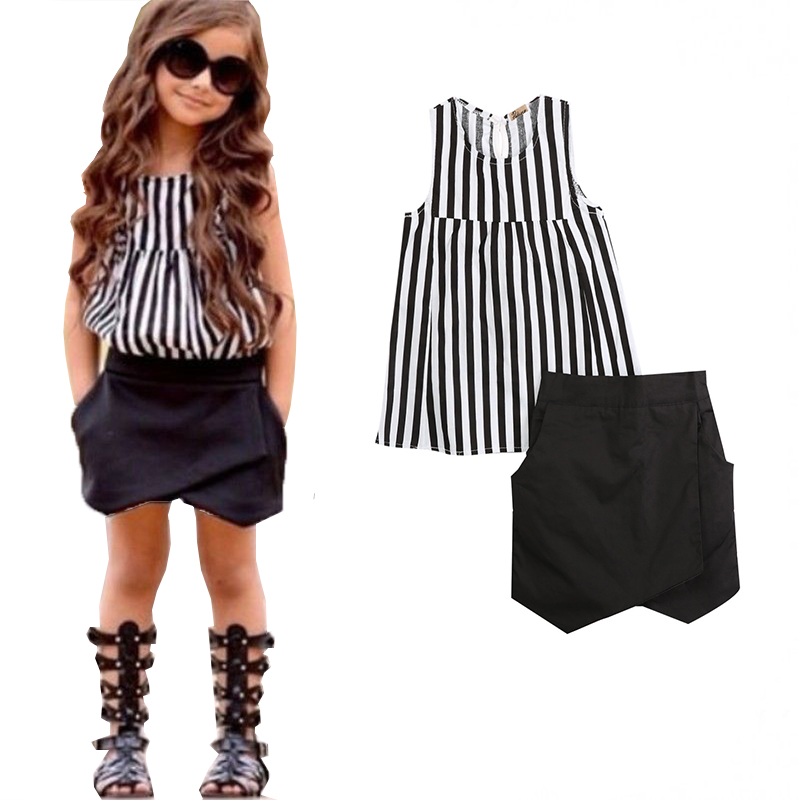 Nueva caliente-venta 2 piezas bebé niños niñas verano sin mangas rayas Tops blusa + asimétrica Shorts trajes ropa conjunto 2 ~ 7 t