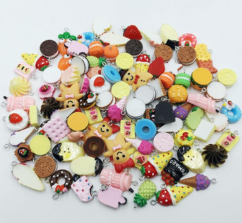 Donuts Fruit Ice Cream Cake Flat Back Resin Mixed Style Charms For Women Girls DIY Making Kawaii Necklace Pendant Keychain Gift