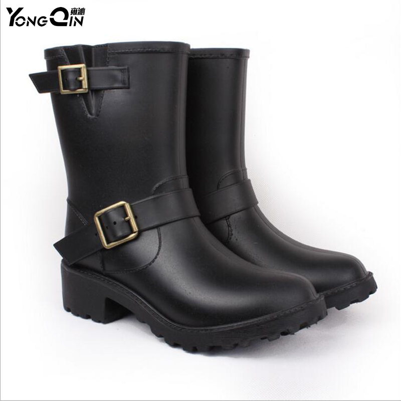 New Women Fashion PVC font b Rain b font font b Boots b font Comfortable Flat