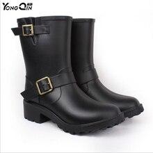 Новый Для женщин мода ПВХ дождь Ботинки Удобная обувь Каблучки резиновые сапоги Женская водонепроницаемая обувь