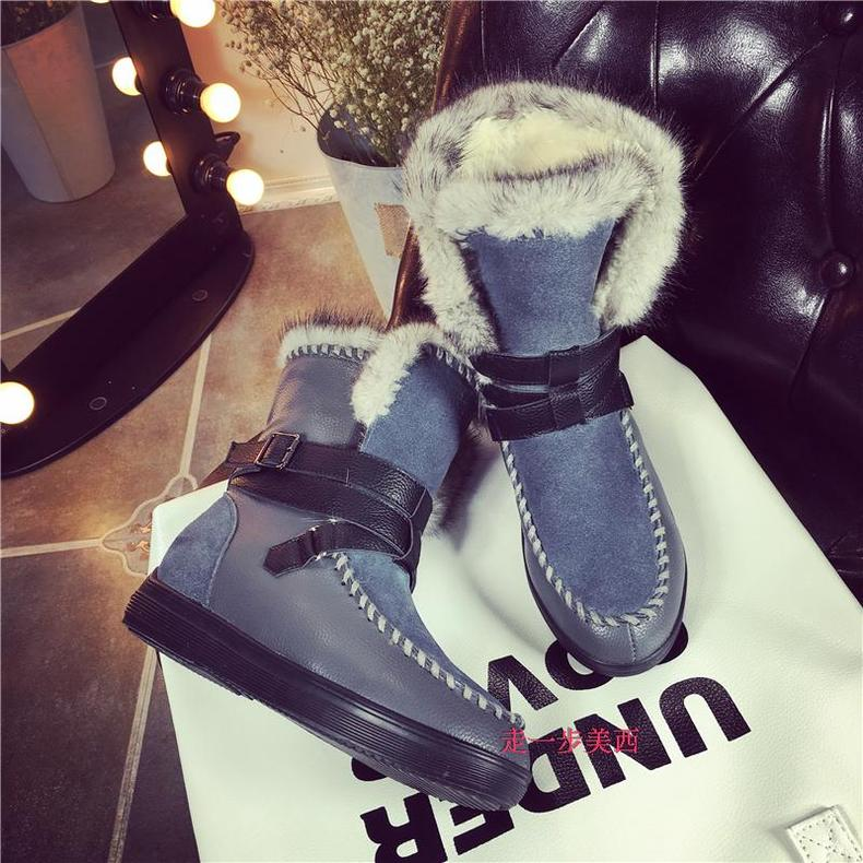 2018 korean version of the new winter warm snow boots female boots genuine leather flat boots plus thick velvet padded shoes