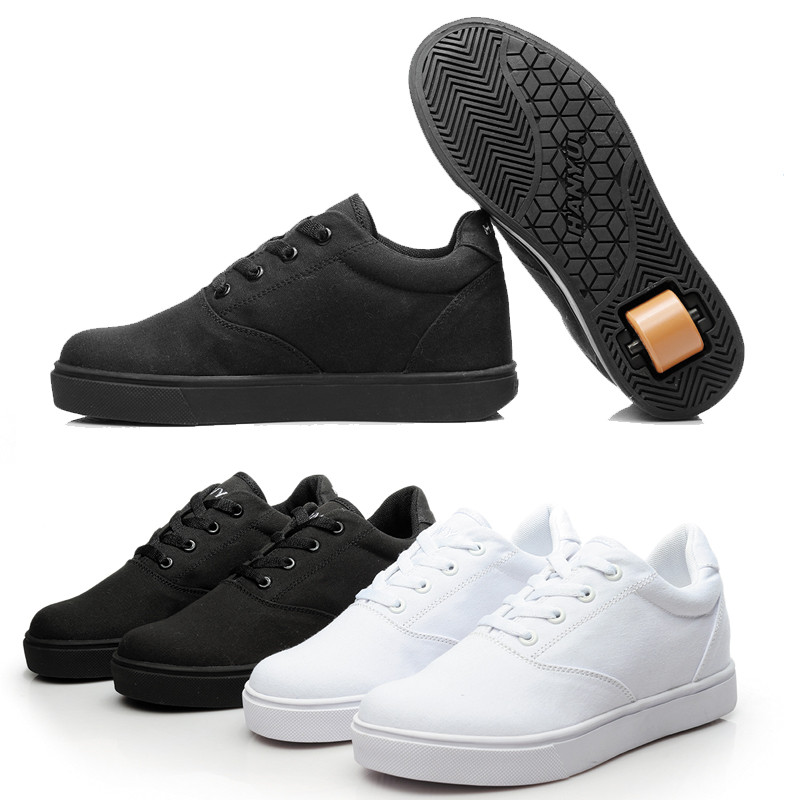 Black White Sneakers With Wheel Boys Girls School Student Fasion Roller Skate Shoes Light Breathable Canvas Trainers Spring