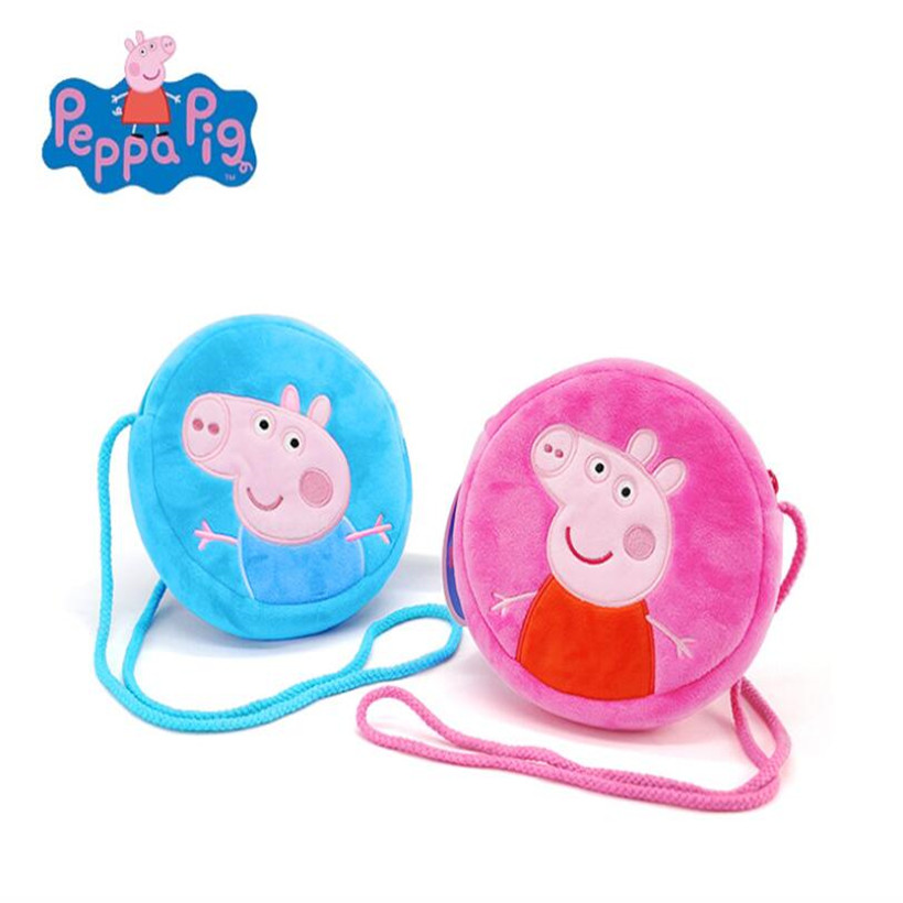 Original Peppa Pig George Dad Mom Plush Toys Stuffed Doll Purse Kids Girls Kindergarten Bag Backpack For Children