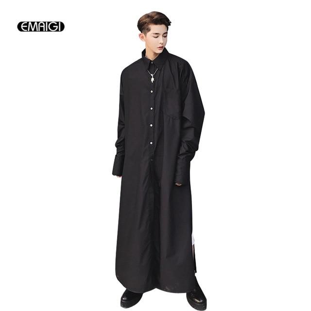 72f0f82650573bb Для мужчин очень длинная рубашка мужской моды показать халат черный, белый  цвет с длинным рукавом
