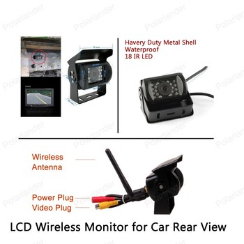 hot! 12 24V Car Truck 5inch TFT LCD Wireless Monitor for Car Rear View Camera Parking KIT 2CH Video Input Built in Transmitter