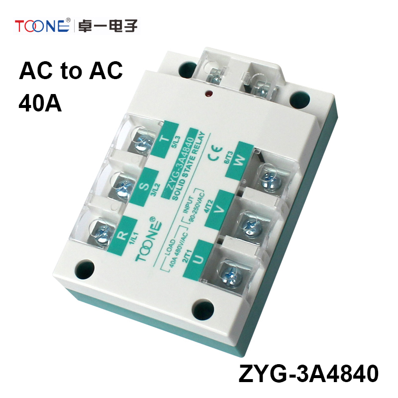 ФОТО 40A AC control AC three phase Solid state relay SSR ac three ZYG-3A4840