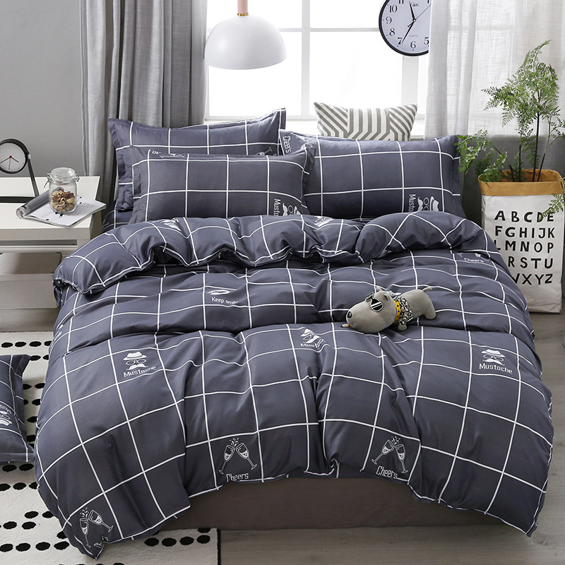 SJ 3/4pcs/Set Geometric Pattern Comforter Cotton Bedding Set Duvet Cover Set Pillowcase/Bed Sets Grey No Filler Home Textile(China)