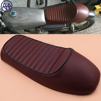 for Honda SUZUKI 1pcs Motorcycle Custom Black Cafe Racer Retro Style Leather Seat Saddle Vintage Grid Shape Hump Universal Fit