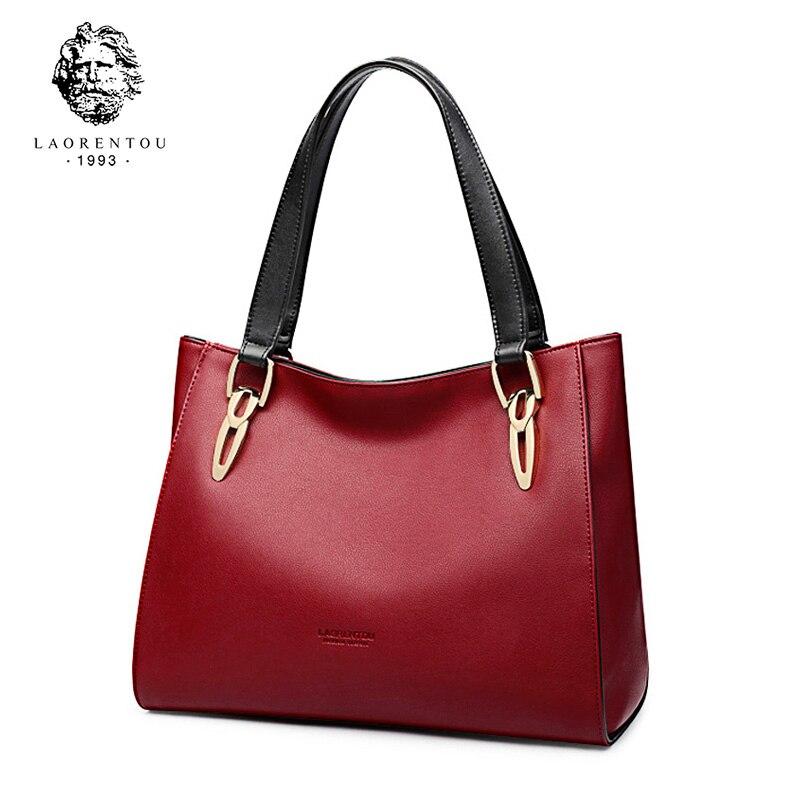 LAORENTOU Brand Fashion Cowhide Leather Women s Handbags Luxury Red Black Shoulder Bag Larger Capacity Women