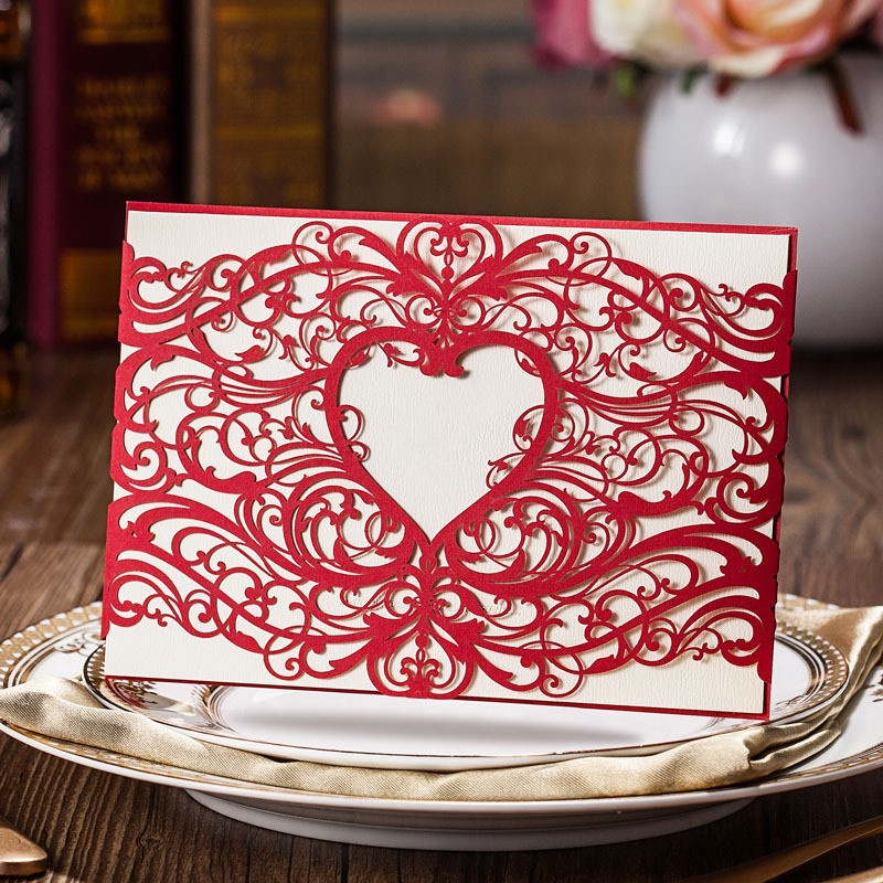 2017 New 30Pcs/Lot Wedding Supplies Hollow Love-type Laser Cut Invitations Cards with Blank insert card For Wedding Invitations 1 design laser cut white elegant pattern west cowboy style vintage wedding invitations card kit blank paper printing invitation