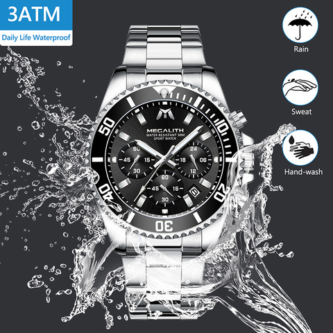 MEGALITH Fashion Mens Watches Top Brand Luxury Chronograph Waterproof Colck Men Watch Gents Reloj Hombre 2018 Sport Wrist Watch Islamabad