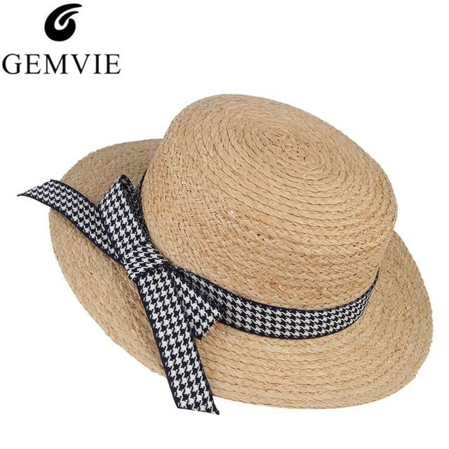 f8e33608c Fashion Lady Raffia Straw Hats For Women Houndstooth Bowknots Flat Sun Hat  Summer Beach Caps Female Panama Hats