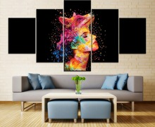 5 Pieces Framework HD Printing Canvas Painting Abstract Colorful Wolf Head And Women Face Type Poster Home Decorative Bedroom