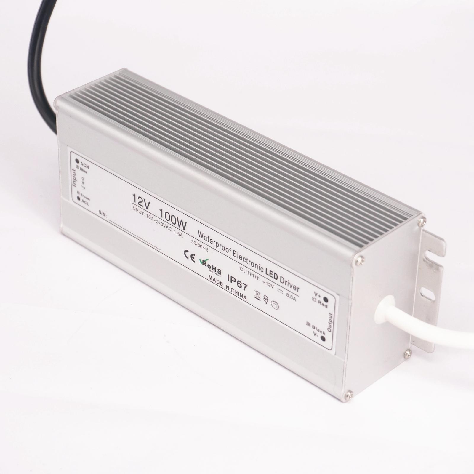 DC 12V 100W LED Driver IP67 Waterproof Transformer Outdoor