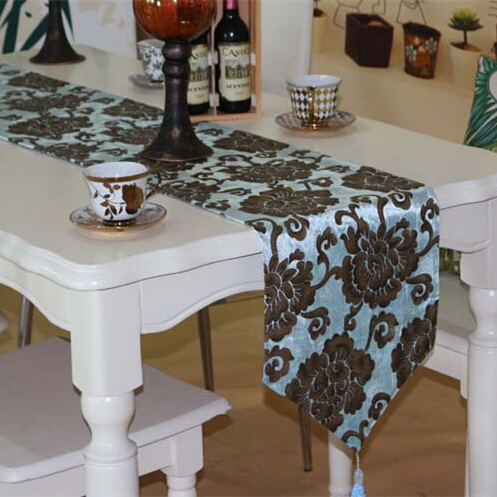 High Quality Luxury Velour Soft Flower Bronzing Retro Tea Dining - Home Textile - Photo 4