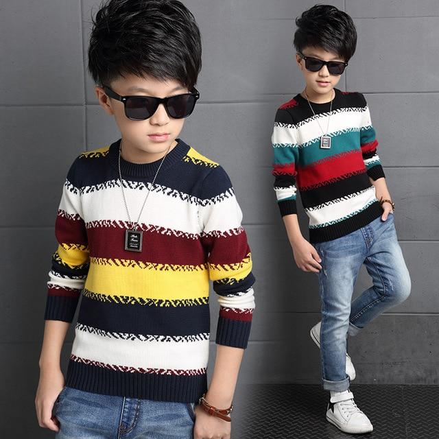 2016 Boys Sweater Kids Rainbow Striped Knit Pullover Fashion Children's Winter Warm Cardigans Sweater Clothing Boys Jacket