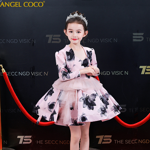 2-piece Sets Luxury Princess Formal Teenage Kids Girls Skirt Dress Set Outfits Clothes Satin Print Birthday Wedding Party Dress