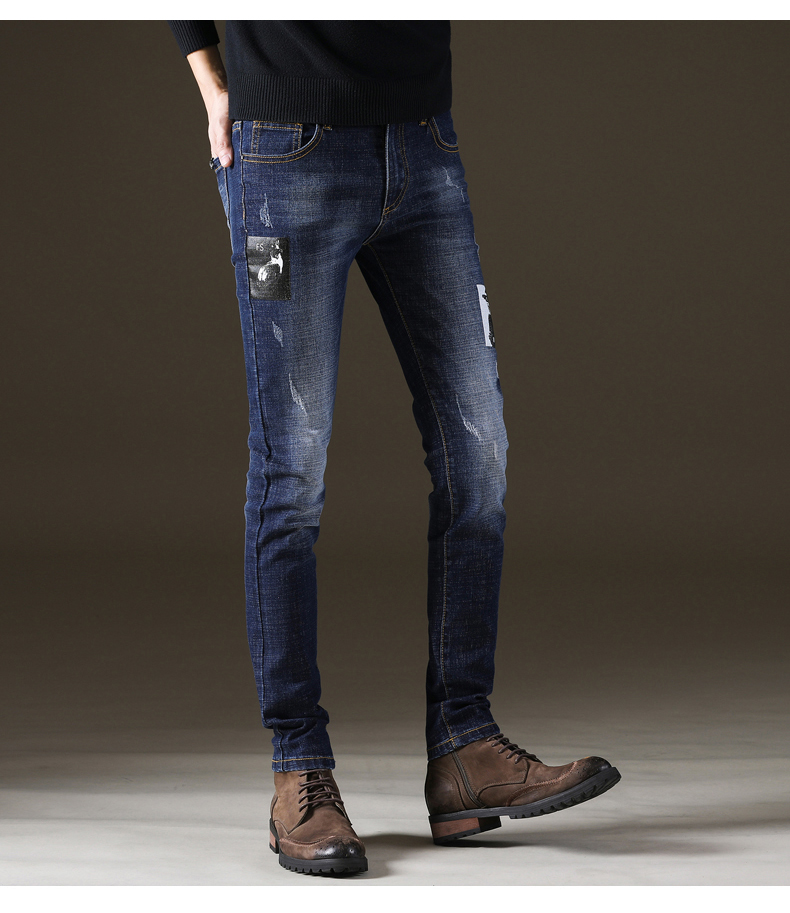 KSTUN Mens Jeans Brand Newly Printed Pattern Blue Stretch Skinny Streetwear Yong Man Full Length