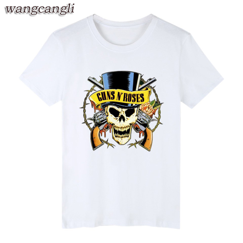 Guns N Roses Skull T Shirt Rock Band Tee Men Women T-Shirt Guns and Roses print Tshirt mans Clothing wangcangli