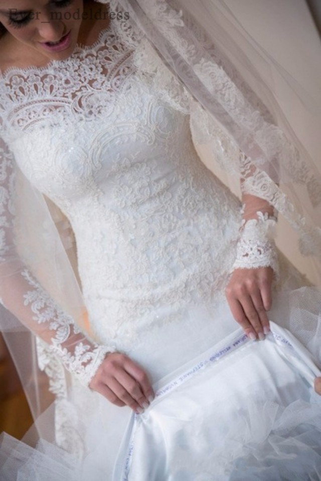 Image 3 - Vestidos De Noiva suknie ślubne syrenka długie rękawy koronkowe aplikacje zroszony Sweep pociąg Plus rozmiar Off ramię suknia ślubna 2020Suknie ślubne   -