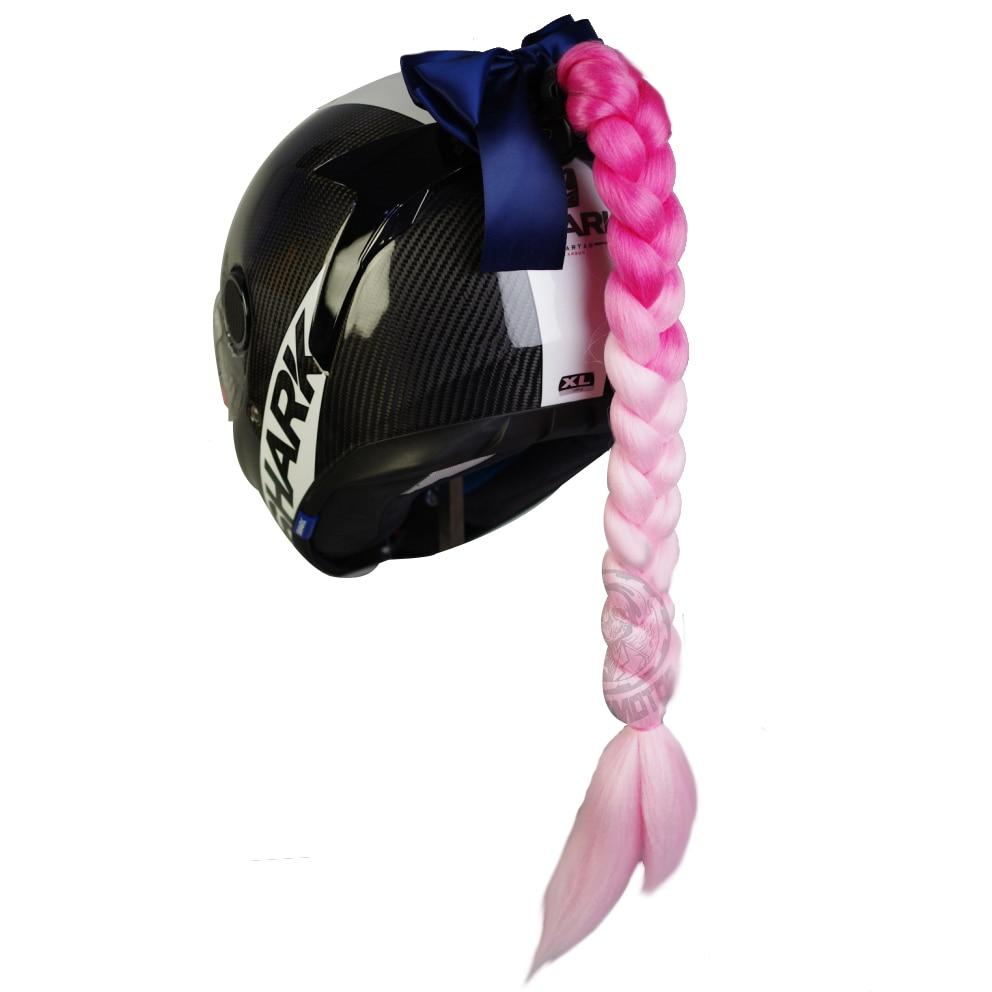 Women Punk Style Motorcycle Helmet Twist Braid Horn