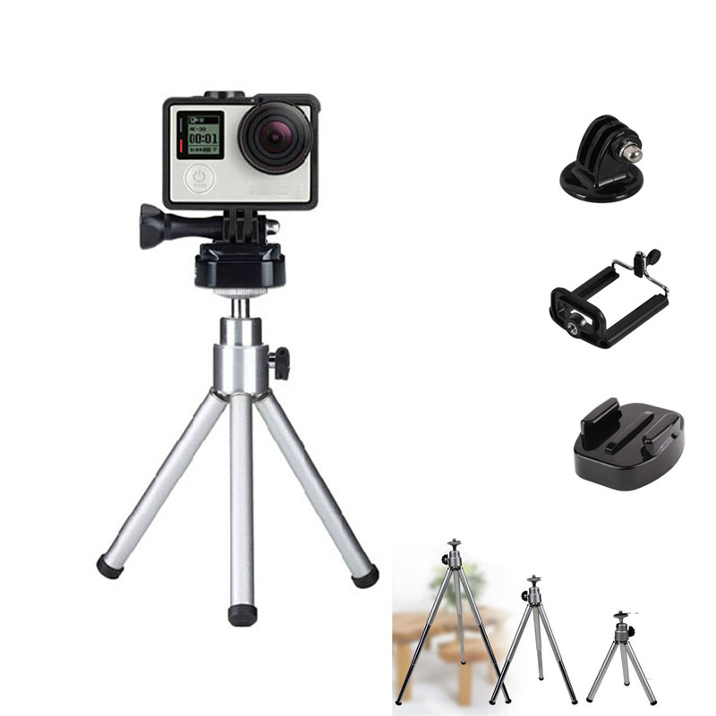 Portable Mini Tripod Stand Mount Base Holder For Gopro XiaoMi Yi SJ4000 SJ5000 SJcam DSLR Phone