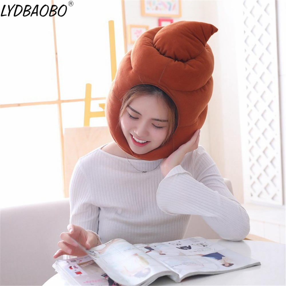 Anime Movie Hot Shit Excrement Hat Stuffed Cosplay Toy Kid Props Accessories Plush Toy Doll Head Warm Fancy Cap Baby Funny Gifts