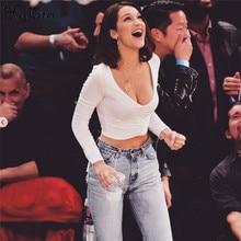 Hugcitar cotton long sleeve white solid V-neck sexy crop top 2017 winter women bodycon casual tshirt