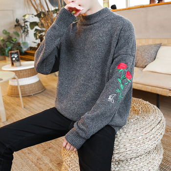 Autumn Winter Simple Style Cotton Embroidery Loose Sweater Coat Mens Pullover Sweaters Jumpers Half Turtleneck Thick knitwear