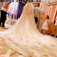 Mingli Tengda Same Vibrato Veil Vintage Champagne Gold Flashing Bride Wedding Luxury Veil Bling Bling Stars Cathedral Veil New