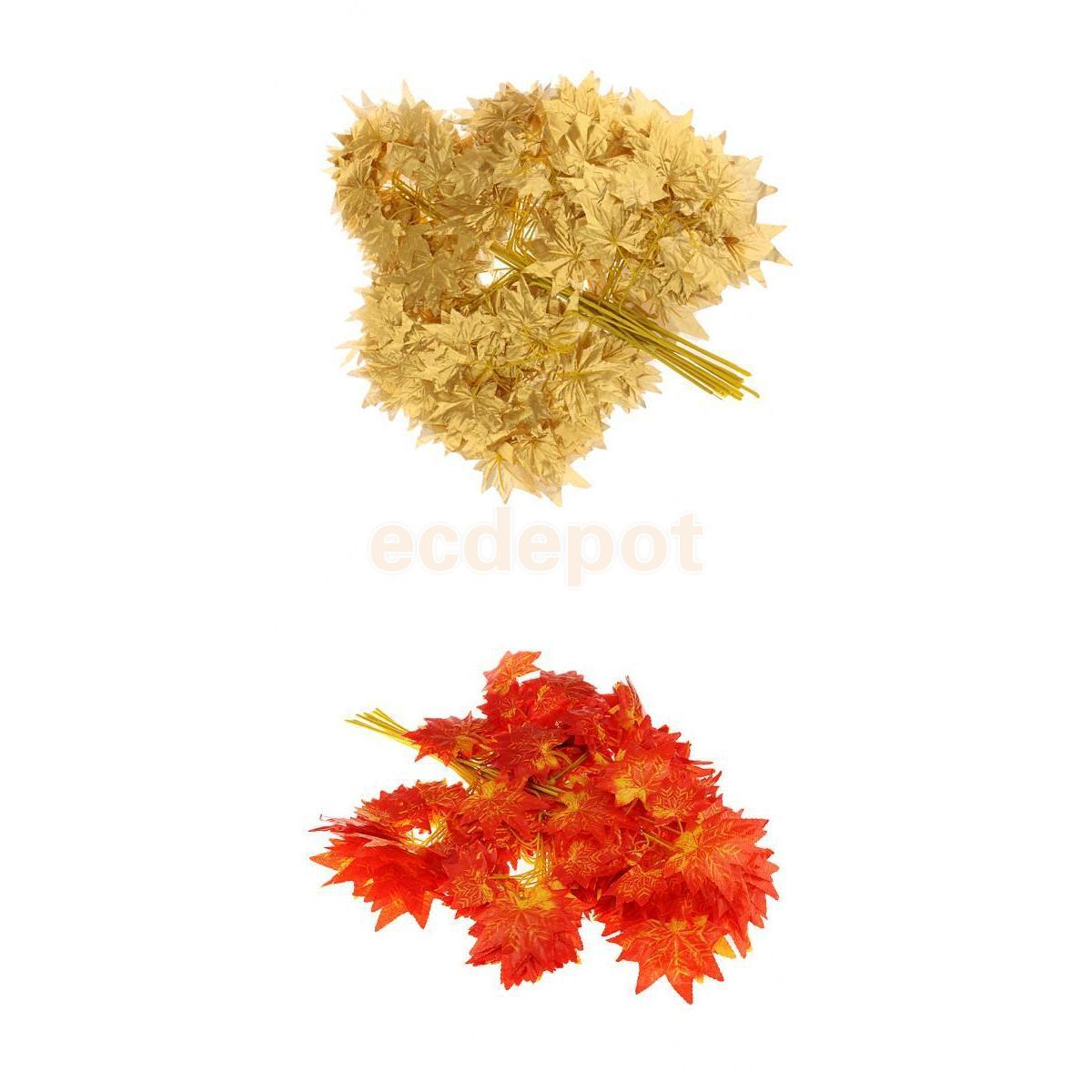 24pcs Artificial Maple Leaves Simulation Decorative Maple Leaves For Home Wedding New Year Decor