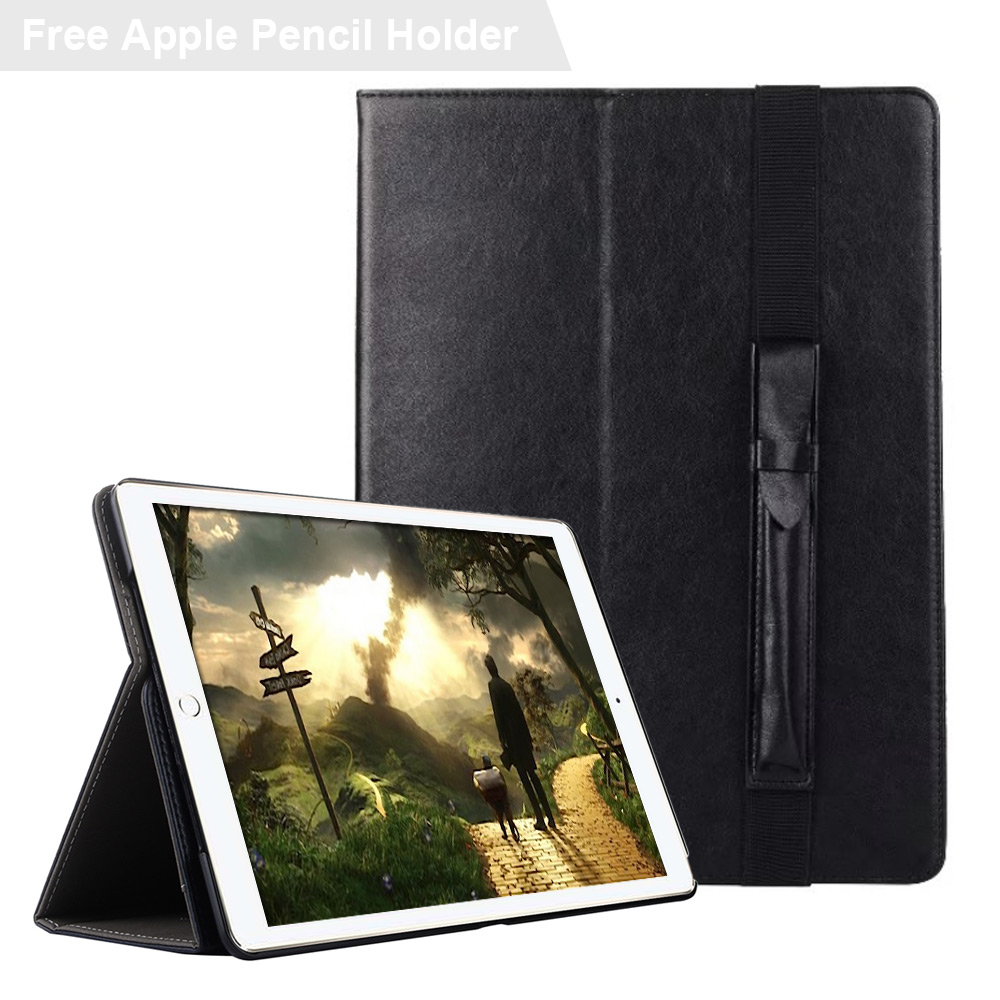 Case for iPad Pro 12.9 2017, Hand Strap PU Leather Business Folio Stand Pocket Smart Case Cover for iPad Pro 12.9 with Holder