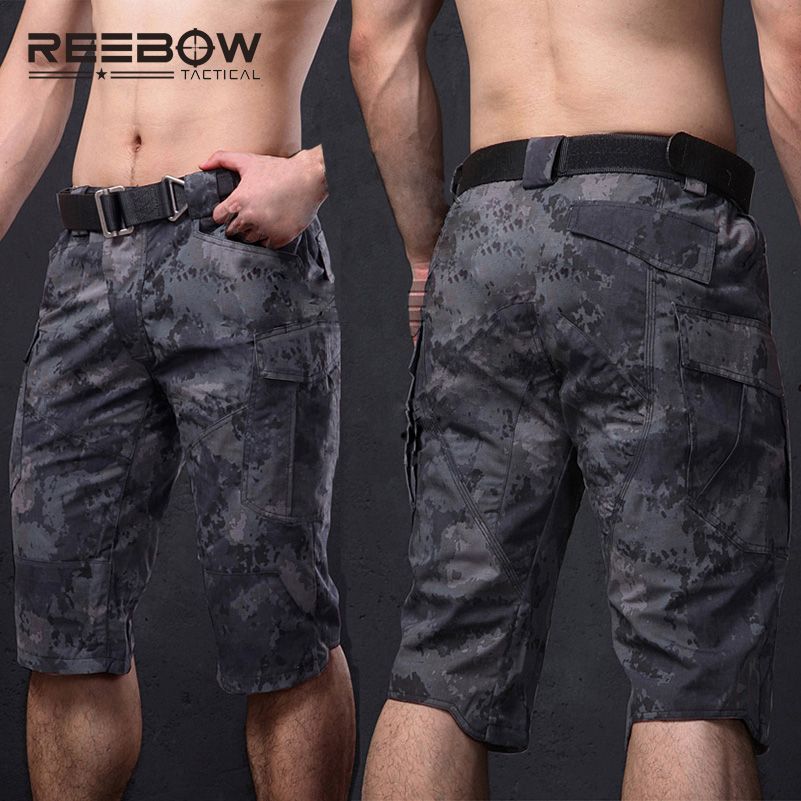 REEBOW Tactical Camouflage Capri Shorts Men Cotton Polyester Outdoor Sports Cropped Quick Dry Trousers Airsoft Paintball airsoft adults cs field game skeleton warrior skull paintball mask