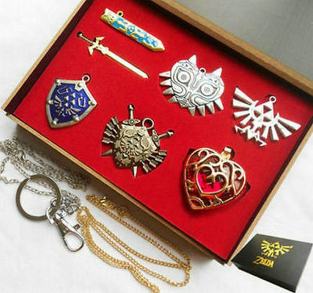 6pcs Legend of Zelda Link Shield hyrule Sword Necklace Pendant keychain Anime key chain
