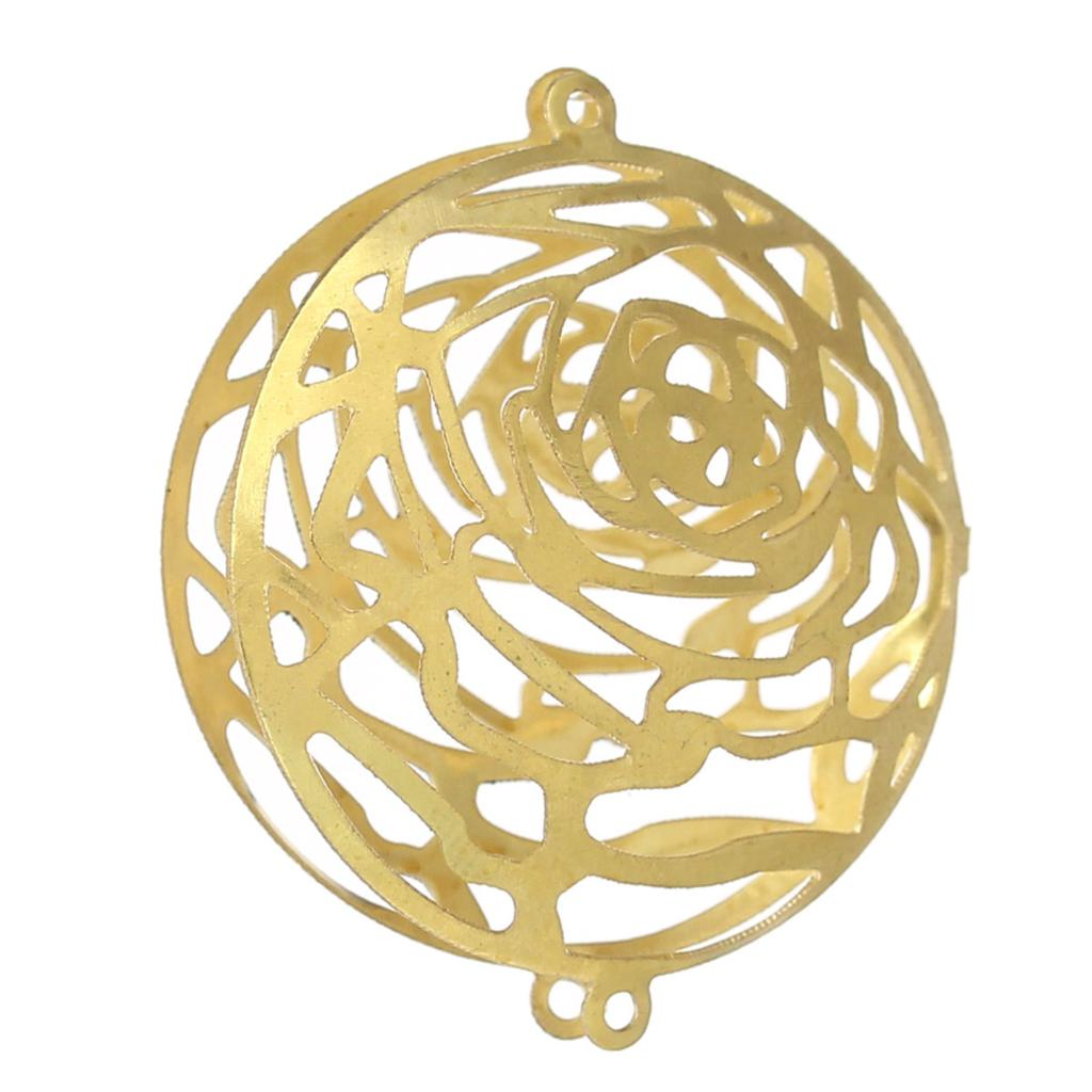Brass Bead Cages Connectors Findings Round Brass Tone Hollow Flower(Fit beads & rhinestones)31mm x 27mm,30 PCs