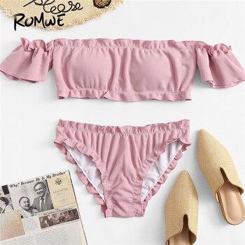Romwe спортивные бикини сплошной отделкой салата Bardot Top With Seam Detail нижняя часть купального костюма Для женщин летние милые пляжные купальники 2 ...