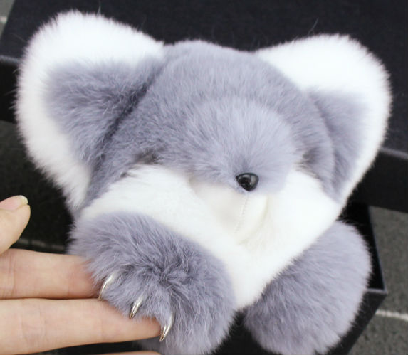 Cute Genuine Real Rabbit Fur Plush Fluffy Furry Fox