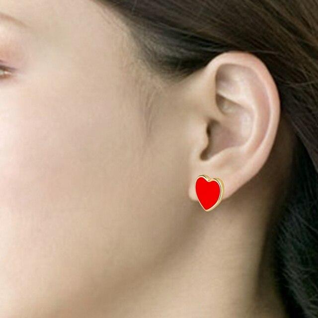 Женские серьги гвоздики с красным сердцем chicvie винтажное