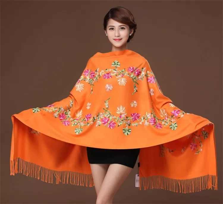 新しい刺繍花スカーフ女性カシミヤ綿ビスコースショール soild 無地刺繍スカーフイスラム教徒タッセル hijabs GP02