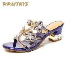 Купить с кэшбэком Fashion Women's Rhinestone High-heeled Sandals Blue Purple Golden Three Colors Available Crystal Metal Casual Shoes Women Party