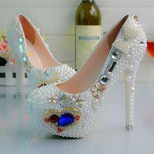 Custom The Heart Of Ocean  White Pearls Women Wedding Shoes Heels Beautiful Bridal Shoes Unique Design Pumps NO29