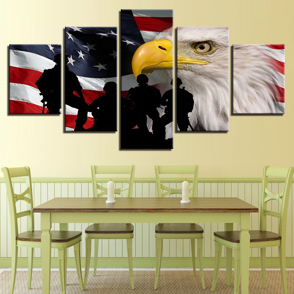 Canvas Wall Art Pictures Framework Home Decor 5 Pieces American Flag ...