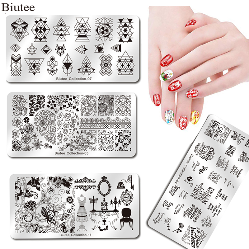Biutee Nail Stamping Plates Stamper Scraper Nail Template Flowers Geometric Patterns DIY Nail Designs Manicure Stamp Plate-in Nail Art Templates from Beauty & Health