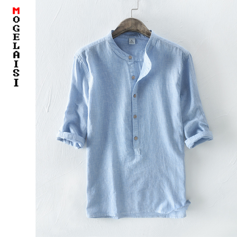 NEW Men's Shirts 55%Linen + 45%Cotton Three Quater Sleeve Striped Shirts Men Fashion Flax Shirt Linen Men Clothing size M 3XL