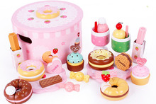 New wooden toy kitchen set Simulation doughnut Baby