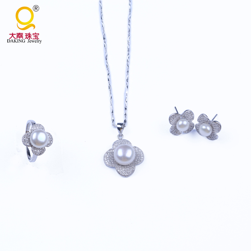 Free shipping gift women 925 silver jewelry set real cultured freshwater pearls necklace earring ring pendantsFree shipping gift women 925 silver jewelry set real cultured freshwater pearls necklace earring ring pendants