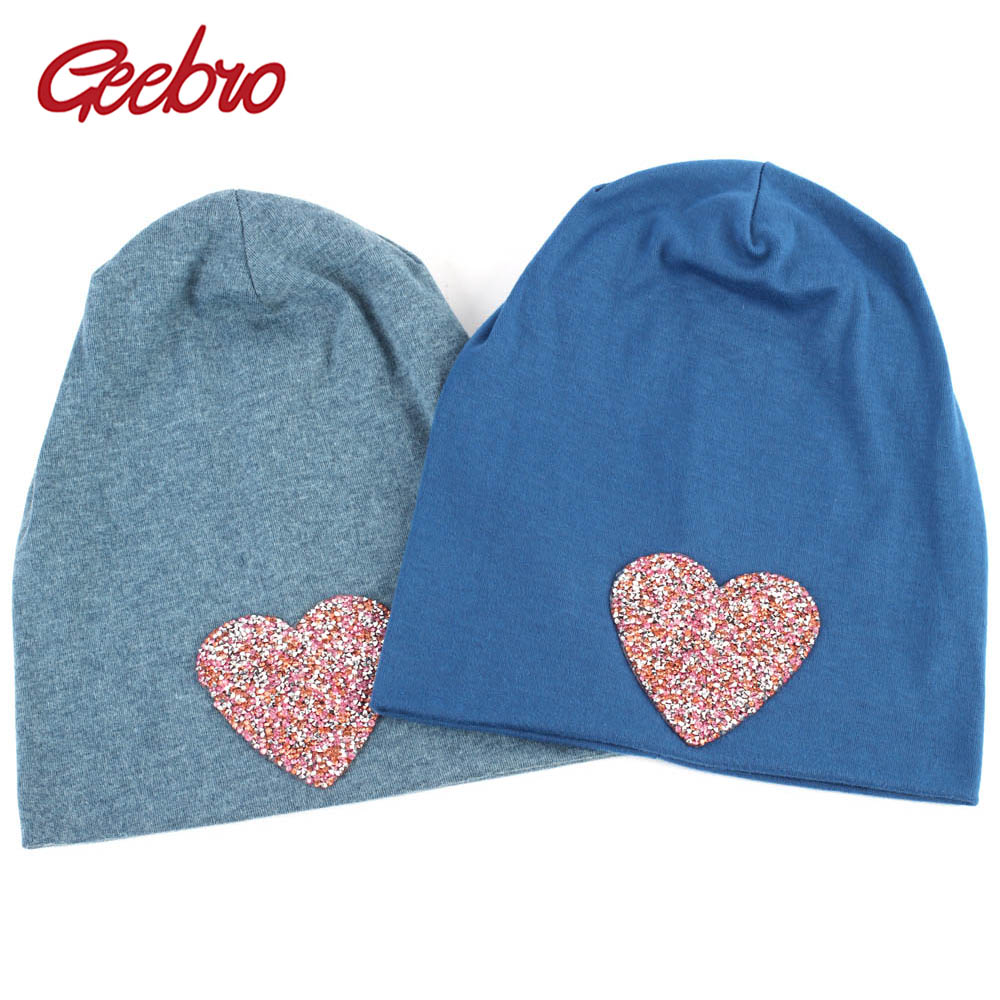 Geebro Women's Heart Beanie Hat Autumn Fashion Rhinestone Slouchy Beanies For Ladies Woman Plain Flat Cotton Bonnet Hats
