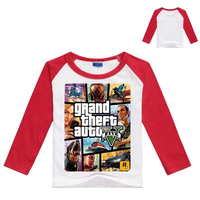 Z & Y 3-16Years GTA 5 티셔츠 소년 게임 의류 소년 긴 - 아동복 - 사진 2