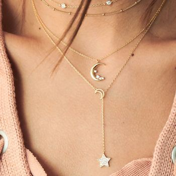 Bohemia Gold Color Long Tassel Moon Layers Necklaces & Pendants for Women Simple Y Crystal Beads Chain Collar Choker Necklaces