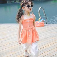 2019 New Summer Kids Girls Cotton 2pcs Suit Teenage Girls Tracksuit Baby Girls Clothes Sets Sleeveless Tops Tees + Pants 10 12 T